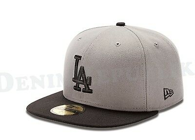 New Era 5950 Los Angeles Dodgers Storm Gray Black MLB Hat Fitted Basic LA Cap