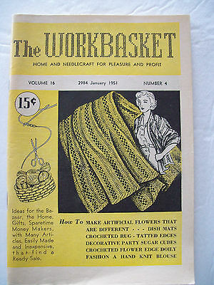 January 1951 Workbasket Knit Crochet Tat Pattern Magazine Rug Shawl Scarf Pillow