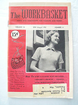 August 1951 Workbasket Knit Crochet Tat Pattern Magazine Gloves Quilt Tablecloth