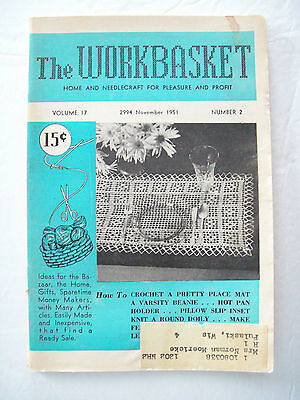 November 1951 Workbasket Knit Crochet Tat Pattern Magazine Doily Beanie Rug Mat