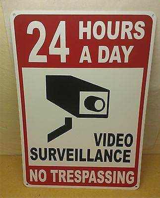 "Lot of 3-24 Hour Video Surveillance No Trespassing 7""x10"" Polystyrene Sign"