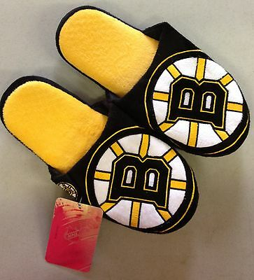 Pair of Boston Bruins Big Logo Slippers NEW NHL - TWO TONED House shoes BLG