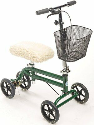 Steerable Knee Walker Scooter Turning Folding with Disc Brake & Basket Green NEW