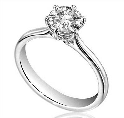 Diamond-Unique Solid Silver Rhodium platinum  Engagement Ring 1ct & 1/2 ct 124