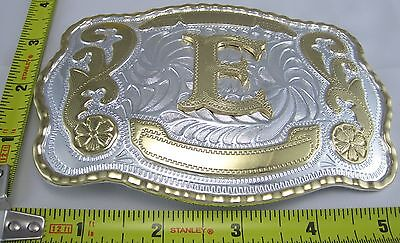 Letter E Belt Buckle Initial Western Cowboy Rodeo B266