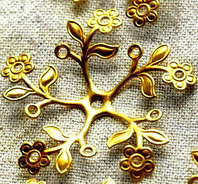 38mm Raw Brass Filigree Wrap Stamping Flowers Charms bf24 (2pcs)