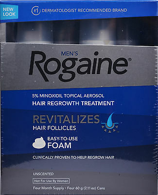 Rogaine for Men Hair Regrowth 5% Minoxidil Topical Foam, 4 Months Exp 2021