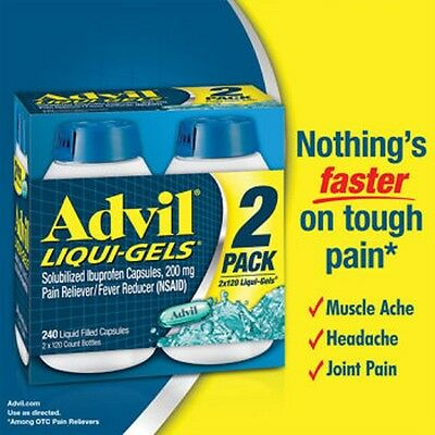 Advil Liquid-Gels 200 mg, 240 Liquid Capsules. Brand New Sealed. Exp 02/ 2019