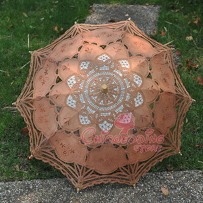 New Brown Battenburg Lace Cotton Embroidery Wedding Umbrella Bridal Sun Parasol