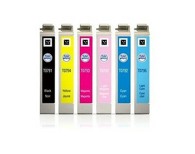 6x One BK & 5 Color Ink For Epson 79 T0791 - T0796 Stylus Photo 1400 Artisa 1430