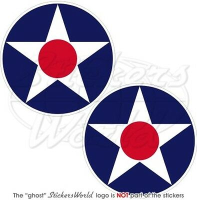 """United States Army Air Corps USAAC Roundels 3"""" (75mm) Vinyl Stickers, Decals x2"""