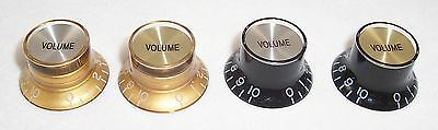 1 X Bell Shaped Top Hat Speed Knob/ Black Or Gold/Silver Or Gold Cap/Tone Or Vol