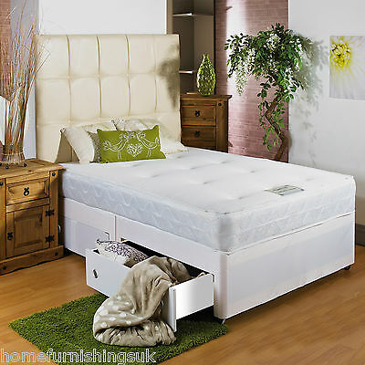 New - Hf4you White Sprung Memory Soft Divan Bed, 4ft Small Double, Free Delivery