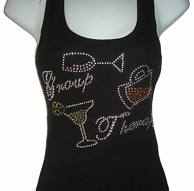 RHINESTONE BRIDE/'S ENTOURAGE WEDDING TANKTOP SHIRT BLACKS SIZE:S,M,L,XL,2XL,3XL
