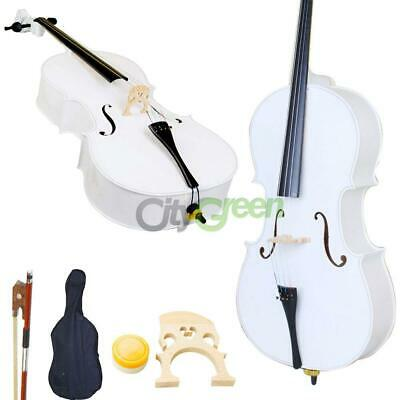 High Quality Cello 4/4 Full Size White BassWood +Bag+Bow+Rosin+Bridge