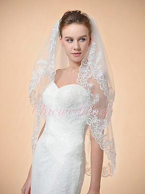 New 2T 36'' White/Ivory Embroidery Edge Elbow Length Bridal Wedding Veil w/Comb
