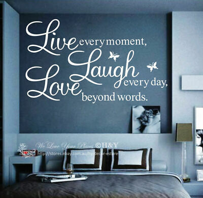"""Wall Quote Vinyl Decal """"Live every moment,Laugh every day,Love beyond words"""" AU"""