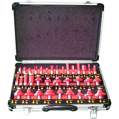 New 35Pc 1/2 Shank Tungsten Carbide Tipped Router Bit Set In Aluminium Case