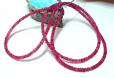 RARE GEM RED PINK SPINEL FACETED BEADS STRAND 28.5ct