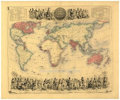 Large A1 Victorian British Empire Throughout the World Antique Colour Map Poster