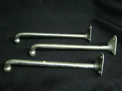 Vintage Large Chrome Bathroom Coat Hooks Hangers Towel Bars Set of 3      553-12