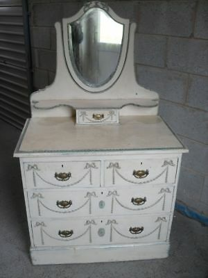 Lovely 19th Century painted French Pine dressing chest with miirror