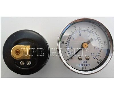 "New air pressure gauge air compressor hydraulic 1.5""face  0-200 back mnt 1/8""npt"