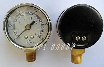 "NEW Pressure Gauge WOG air compressor hydraulic 2"" face  0-100 lower mnt 1/4""npt"