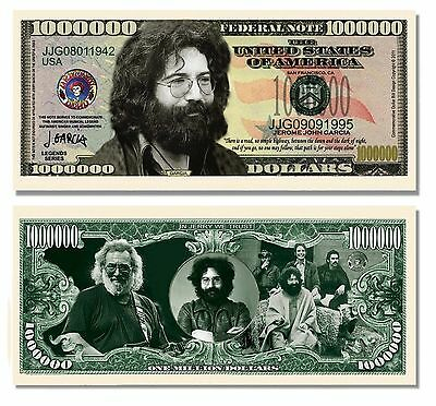 Jerry Garcia Grateful Dead Million Dollar Bill w/ Clear Protector Factory Fresh