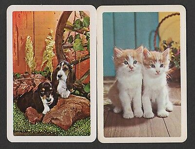 Vintage Swap/Playing Cards - Lovely Kittens & Dogs x 2