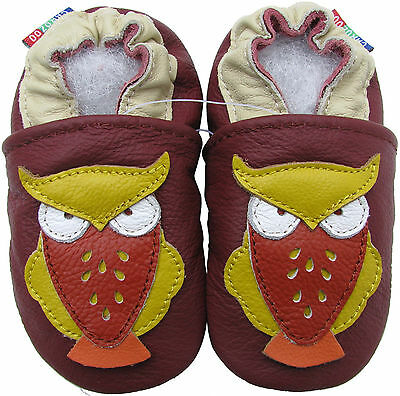 carozoo owl dark red 12-18m soft sole leather baby shoes