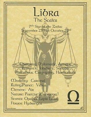 LIBRA ZODIAC POSTER  Wicca Pagan Witch Witchcraft Goth BOOK OF SHADOWS Astrology