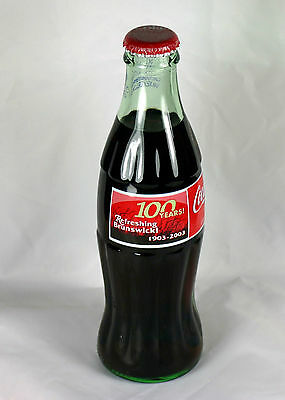 2003 Coca-Cola 100 Years Refreshing Brunswick 1903-2003 FULL Coke Bottle