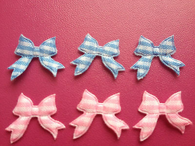 50 Small Blue Pink Gingham Ribbon Bow New Baby Card Making Craft Embellishments