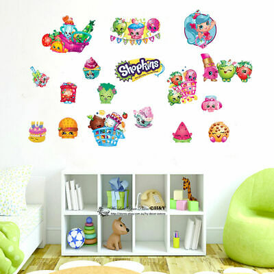 Shopkins Wall Sticker Removable Decal Nursery Girls Party Decor Gift Fruit Fries
