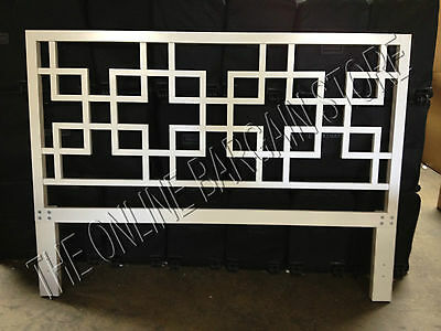 Pottery Barn West Elm California King Wood Headboard Bed Overlapping squares