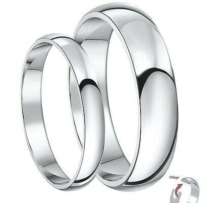9ct White Gold D Shaped His & Hers 3&5mm / 4&6mm Light Weight Wedding Rings