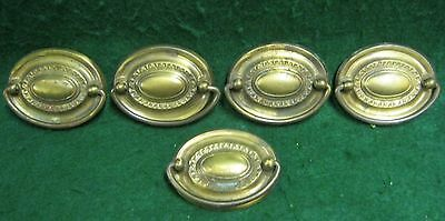 Antique Set of 5 Drop Handle Drawer Pulls Small Decorative  # 615-12