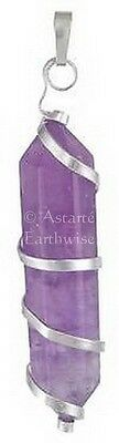 1 x AMETHYST SPIRAL Double Terminated CRYSTAL POINT  Wicca Pagan Witch Reiki