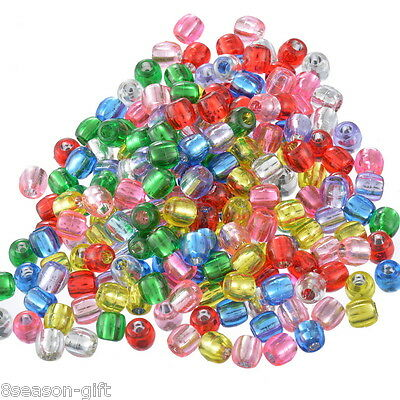300 Mixed Multicolor Crafts Foil Pony Beads 7x7mm