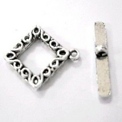 10 Sets patterned diamond Tibetan Silver Alloy Large Toggles Clasps A6414