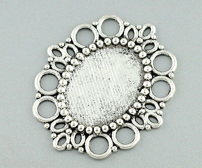 10 Silver Tone Oval Frame Beads Settings 43x37mm
