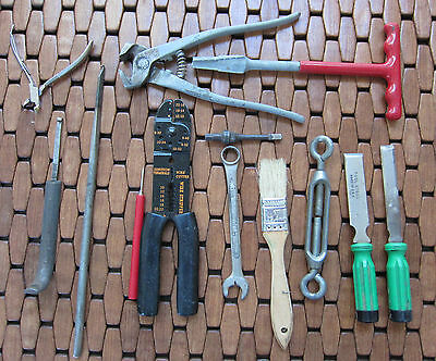 Garage Drawer Lot#4 13 Items - Wire Cutter, Chisels, Odds and Ends, Decent Cond.