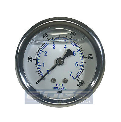 "Liquid Filled Pressure Gauge 0-100 Psi, 2.5"" Face, 1/4"" Back Mount Wog"