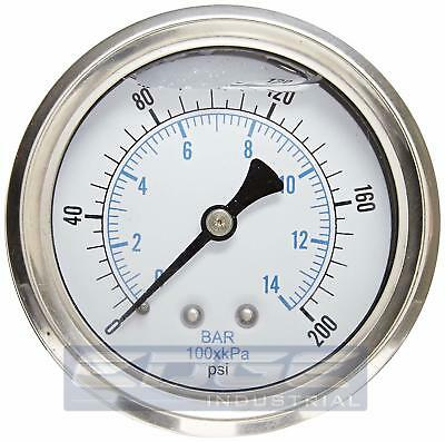 "Liquid Filled Pressure Gauge 0-200 Psi, 2.5"" Face, 1/4"" Back Mount Wog"