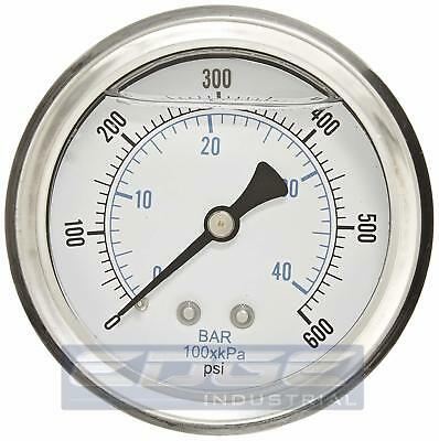 "Liquid Filled Pressure Gauge 0-600 Psi, 2.5"" Face, 1/4"" Back Mount Wog"