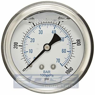 "Liquid Filled Pressure Gauge 0-1000 Psi, 2.5"" Face, 1/4"" Back Mount Wog"