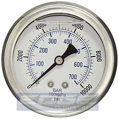 "Liquid Filled Pressure Gauge 0-10,000 Psi, 2.5"" Face, 1/4"" Back Mount Wog"