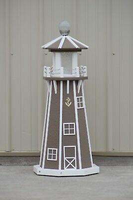 """39"""" Octagon Electric and Solar Powered Poly Lumber Lighthouse (Clay/white trim)"""