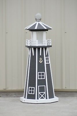 """39"""" Octagon Electric and Solar Powered Poly Lumber Lighthouse (Gray/white trim)"""